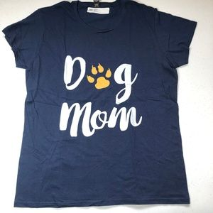 Dog Mom Navy T-Shirt with Paw Print NEW Large